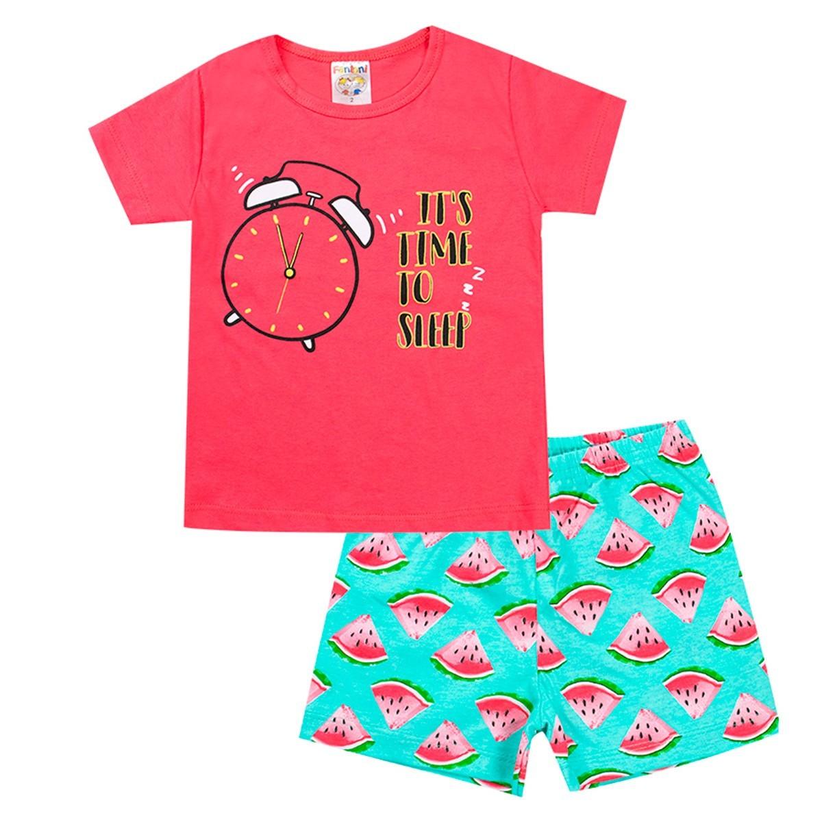 Conjunto Pijama Infantil Menina Brilha No Escuro Salmão