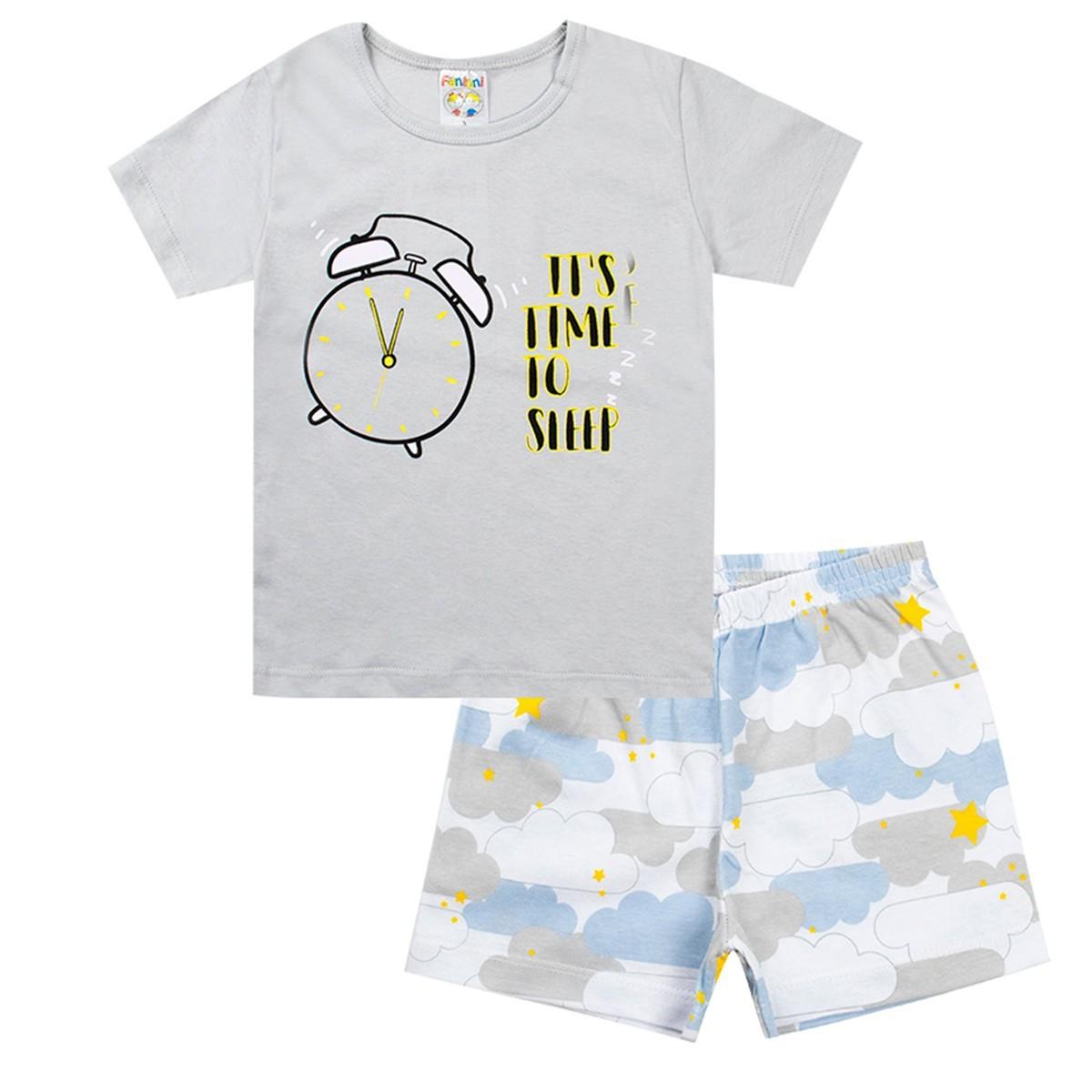 Conjunto Pijama Infantil Menino Brilha No Escuro Cinza