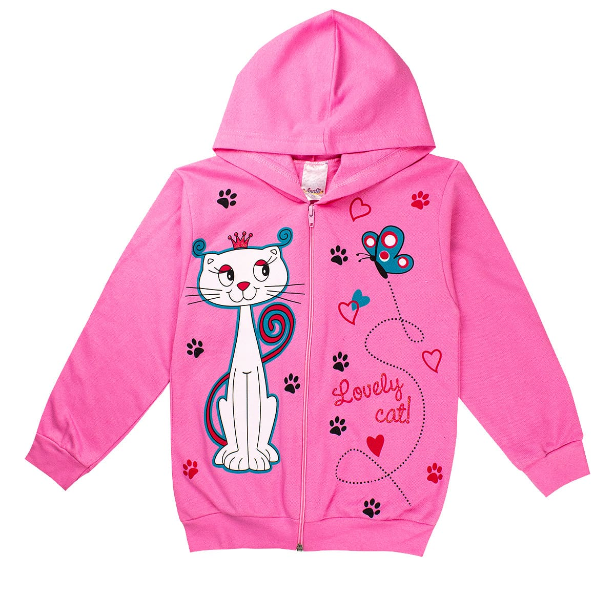 Jaqueta Infantil Feminina Love Cat Rosa Analê