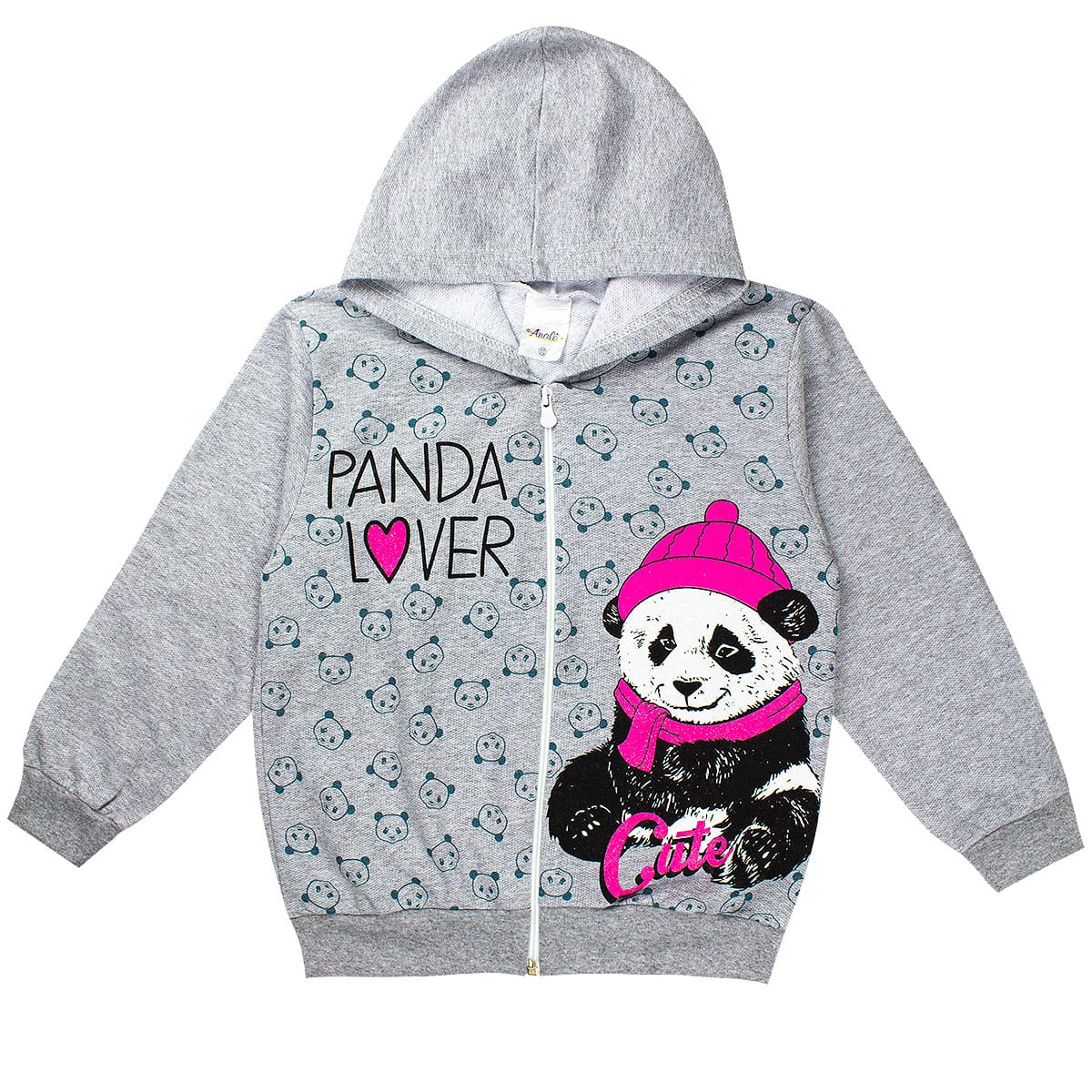 Jaqueta Infantil Menina Panda Lover Mescla Analê