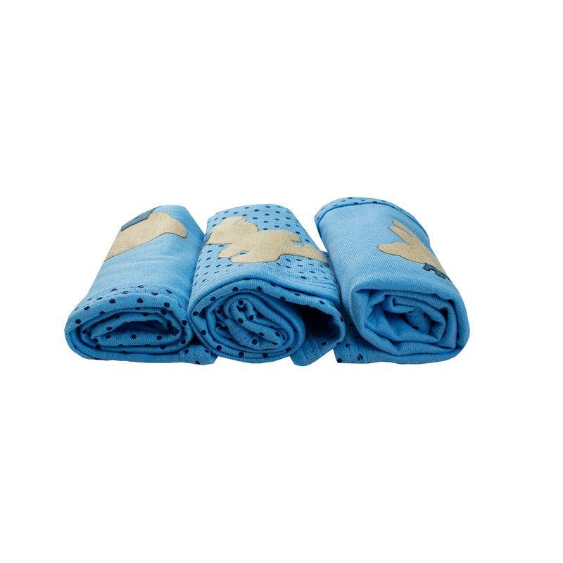 Kit 3 Cheirinho Bebê Meia Malha Costura Dupla Azul