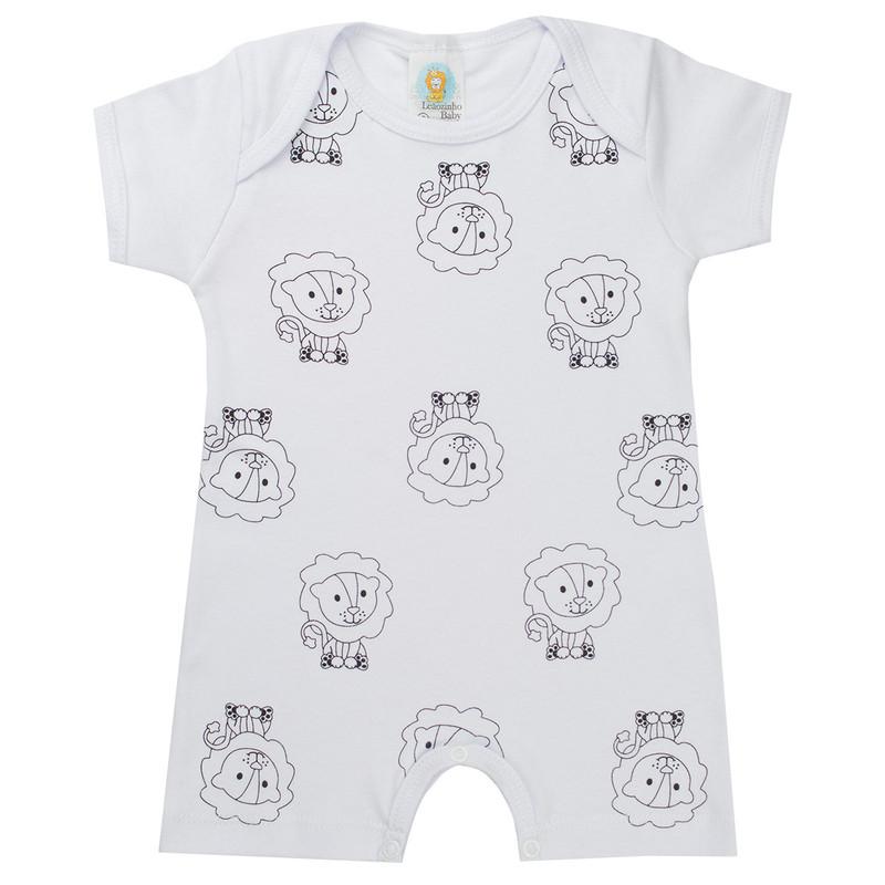 Kit 3 Macacão Bebê Menino Suedine Com Botão Entre Pernas