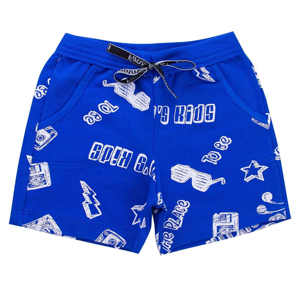 Kit 4 Bermudas Menino Shorts Bebê Moletinho Estampado