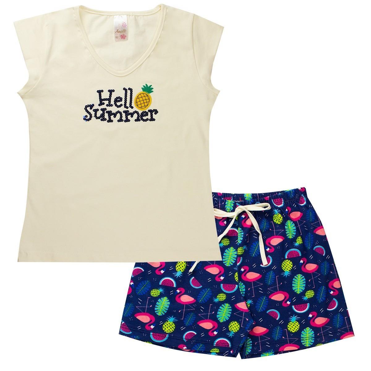 Kit 4 Conjuntos Infantis Femininos Verão De Manguinha