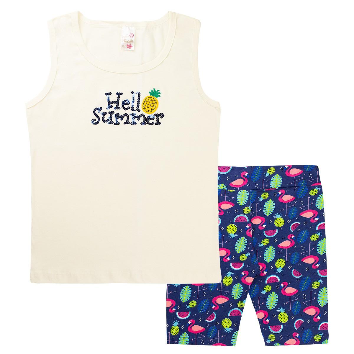 Kit 4 Conjuntos Infantis Femininos Verão Regata