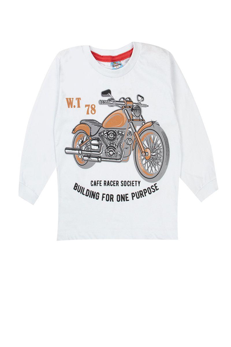 Kit 5 Camisetas Manga Longa Infantil Diversas Cores e Estampas