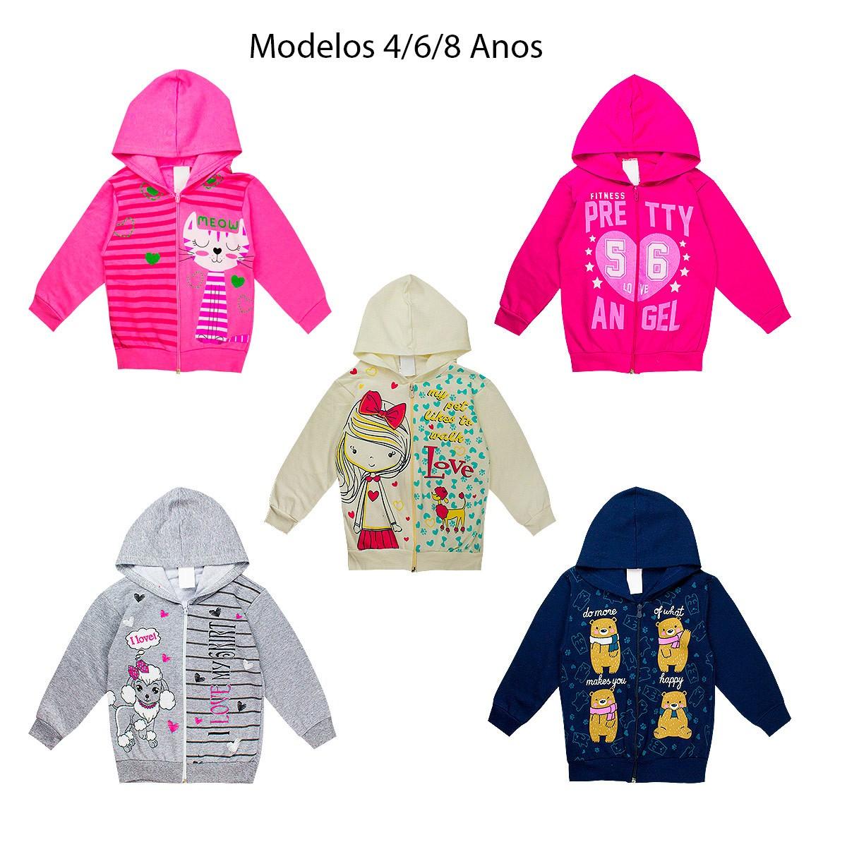 Kit 5 Casacos Jaquetas Feminina Infantil Moletom Menina