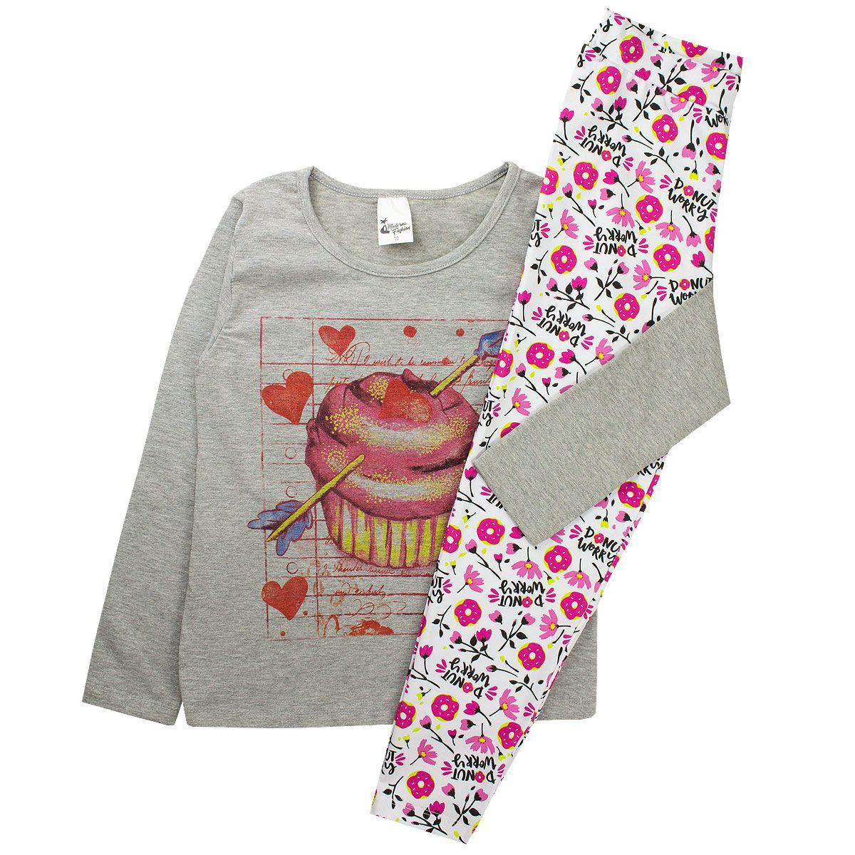 Kit 5 Conjuntos Infantil Feminino Cotton Roupas Menina