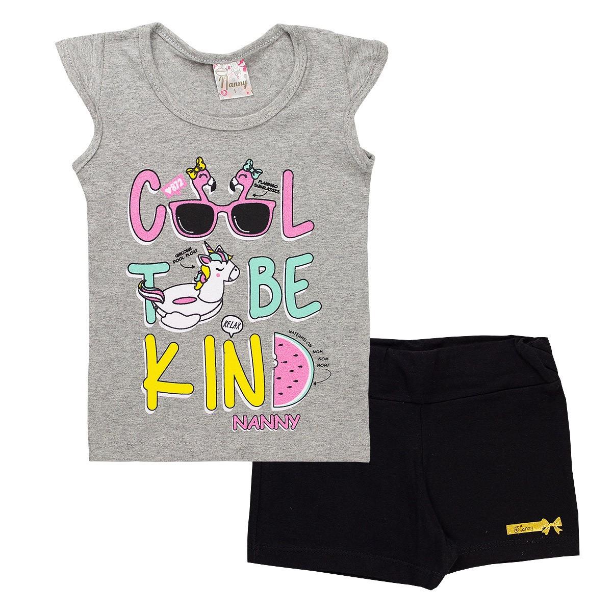 Kit 5 Conjuntos Infantil Feminino Cotton Verão