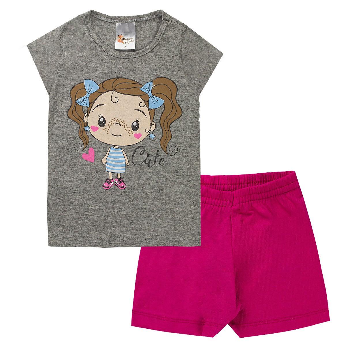 Kit 5 Conjuntos Infantis Menina Cotton Verão Feminino