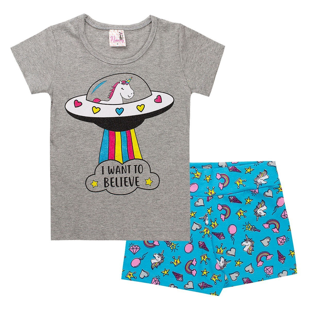 Kit 5 Conjuntos Infantis Menina Estampas e Cores Sortidas