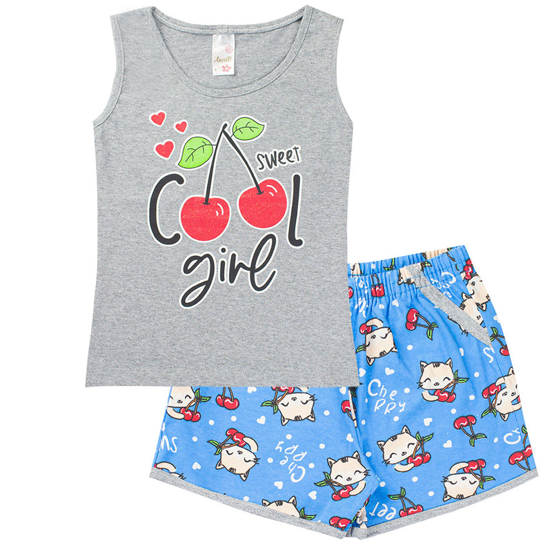 Kit 5 Conjuntos Menina Infantil Regata Estampada Verão