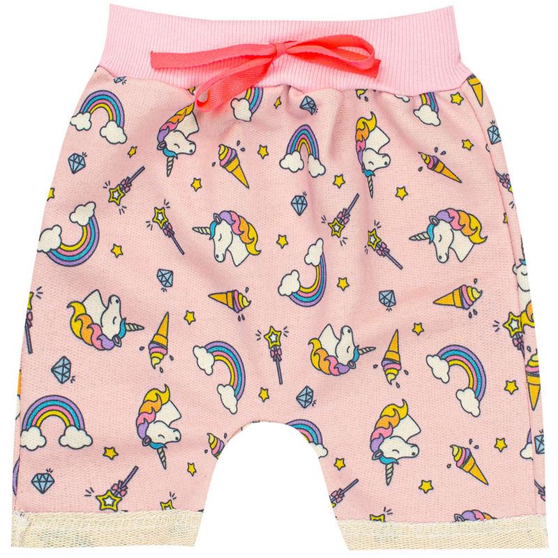 Kit 5 Shorts Infantil Menina Moletom Cores Sortidas Atacado