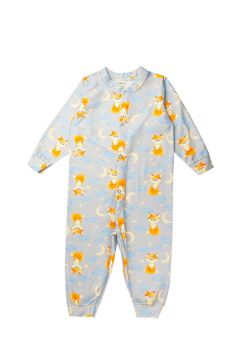 Macacão Infantil Bebê Soft Abertura Botão Cinza  Fantoni