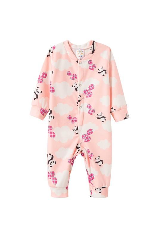 Macacão Infantil Feminino Bebê Soft Botão Rosa Fantoni
