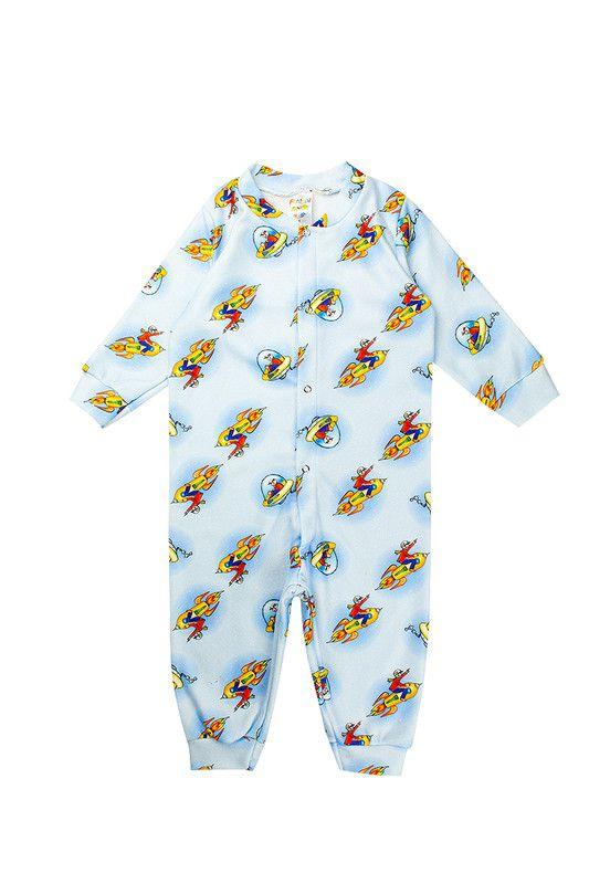 Macacão Infantil Masculino Soft Abertura Botão Azul