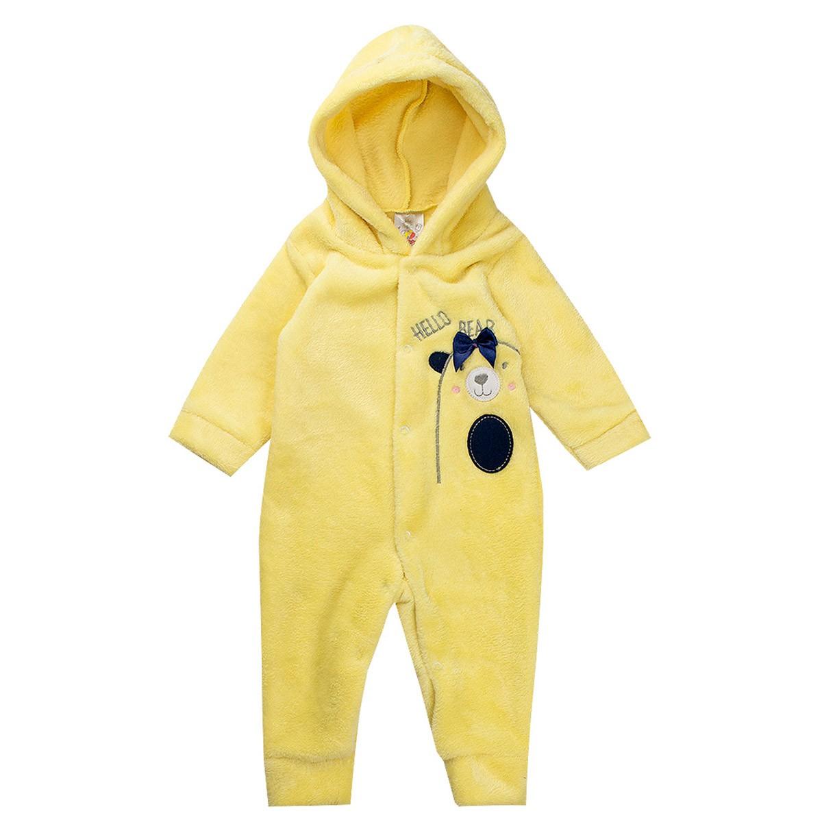 Macaquinho Bebê Menina Plush Antialérgico Amarelo - Isensee