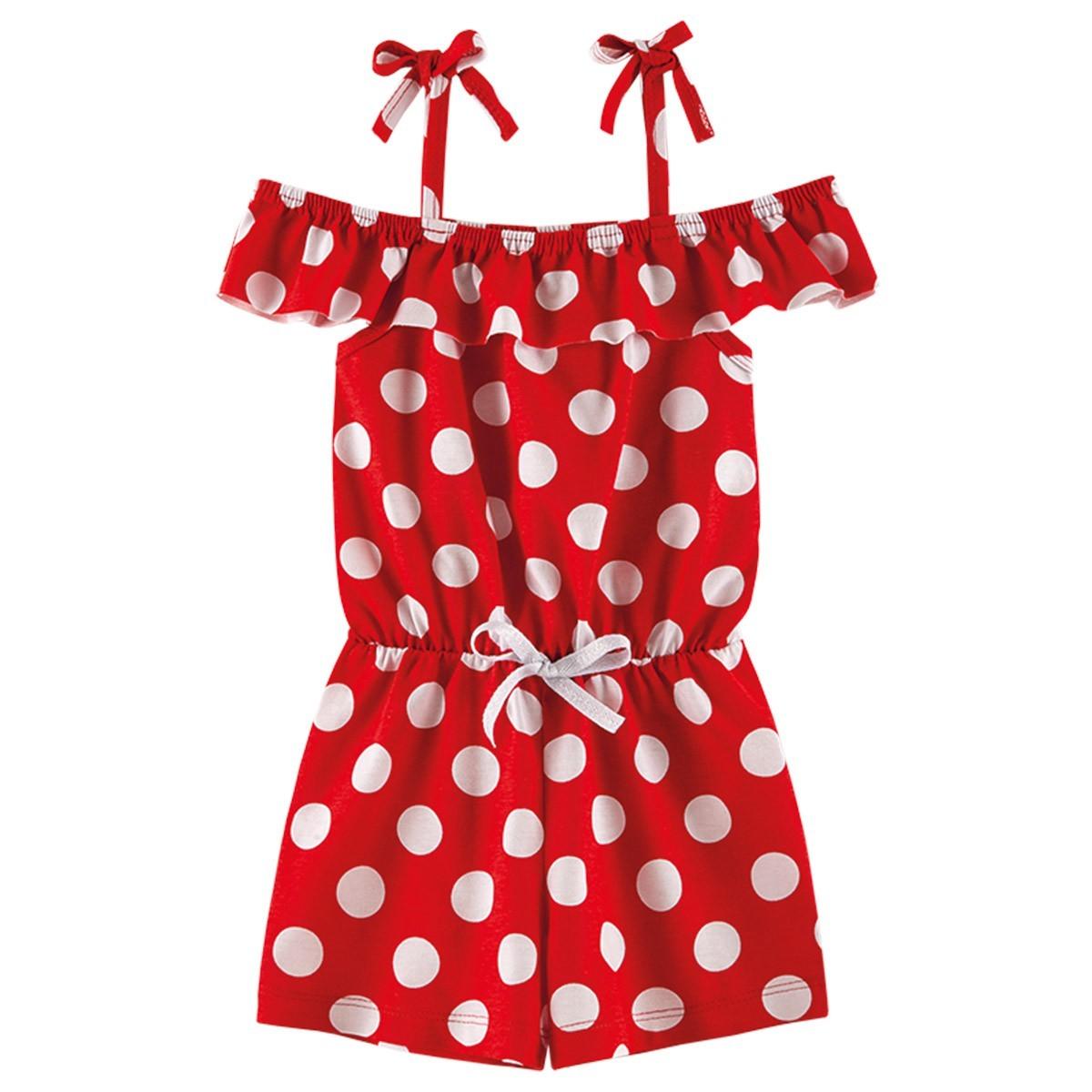 Macaquinho Infantil Ciganinha Menina Estampado Bolinha - Vermelho