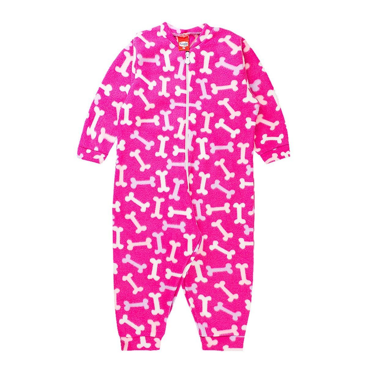 Macaquinho Infantil Menina Com Zíper Ossos Pink - Gueda