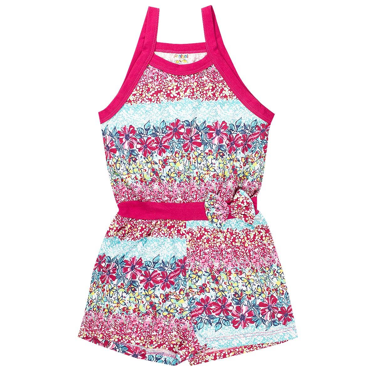 Macaquinho Infantil Menina Estampado Floral - Pink