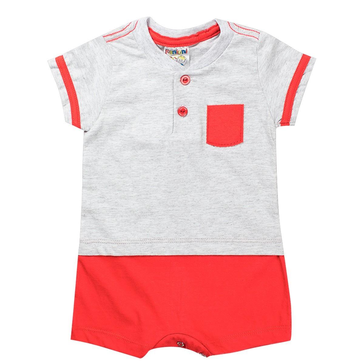 Macaquinho Infantil Menino Com Botões Vermelho - Fantoni