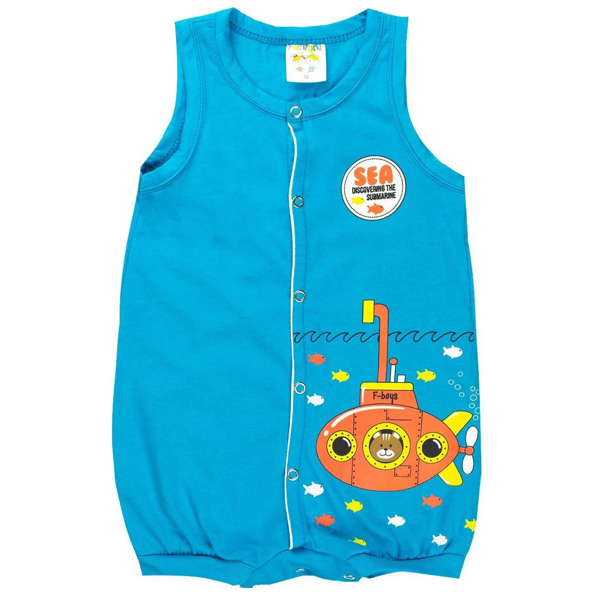 Macaquinho Regata Infantil Bebê Menino Submarino Azul