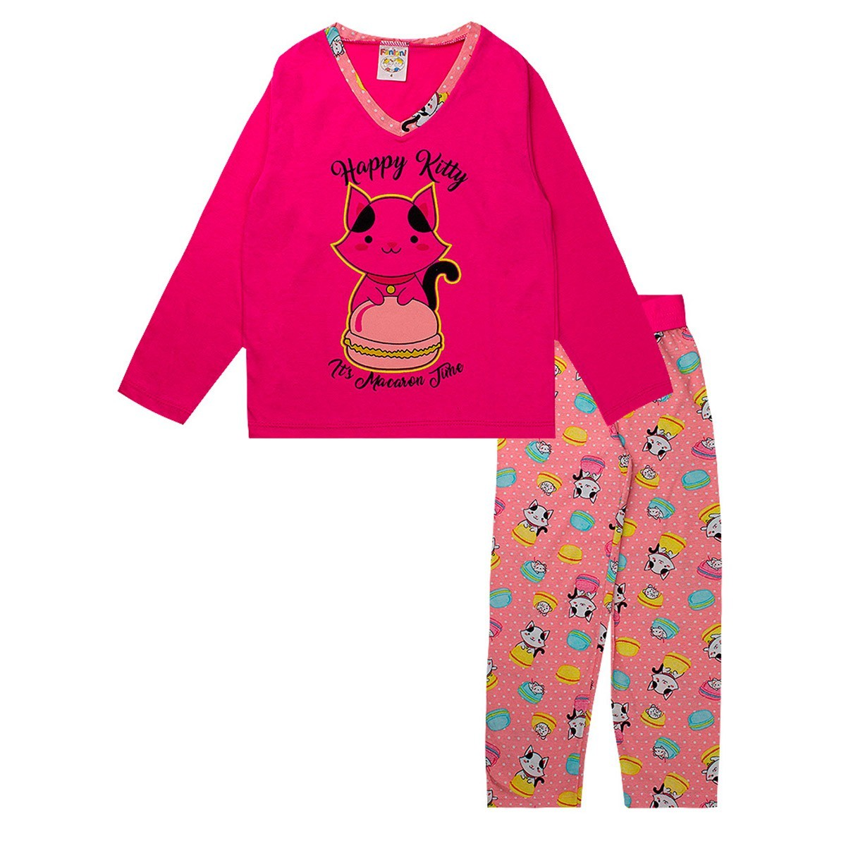 Pijama Infantil Feminino Estampado Decote V Pink Fantoni