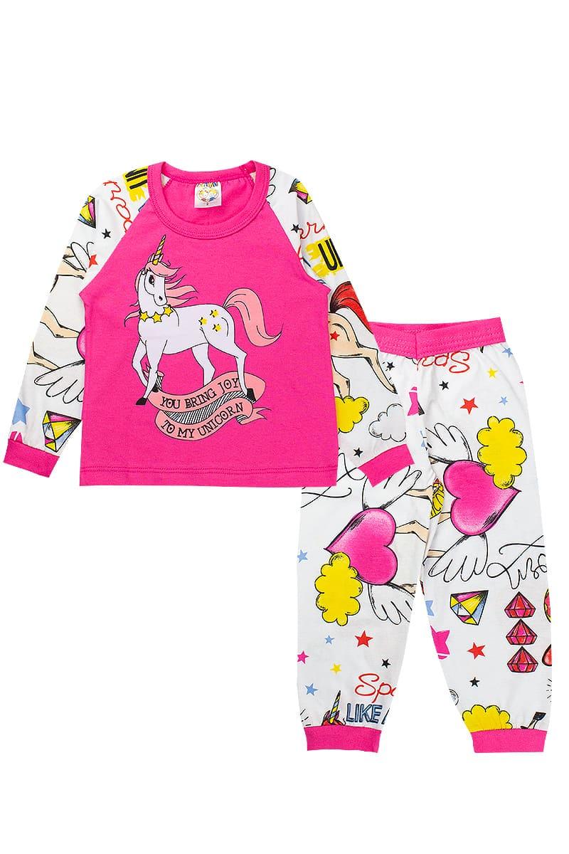 Pijama Infantil Feminino Raglan Meia Malha Pink Fantoni