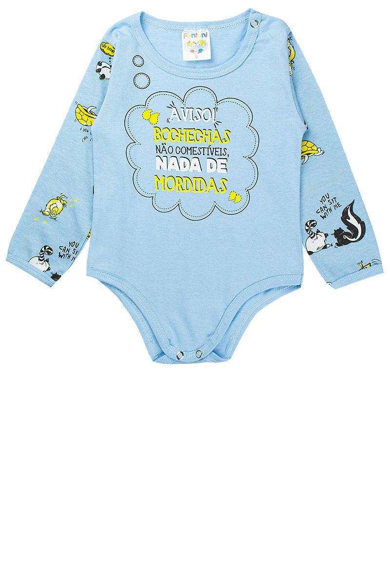Pijama Infantil Masculino Estampado Meia Malha Azul Fantoni