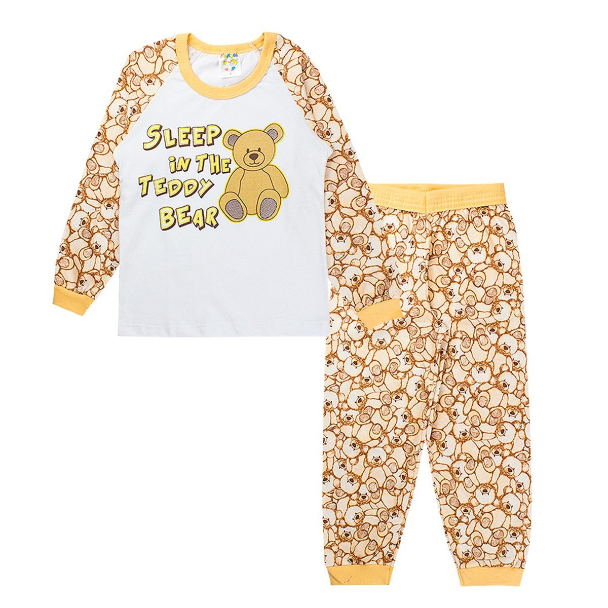 Pijama Infantil Masculino Raglan Meia Malha Branco Fantoni