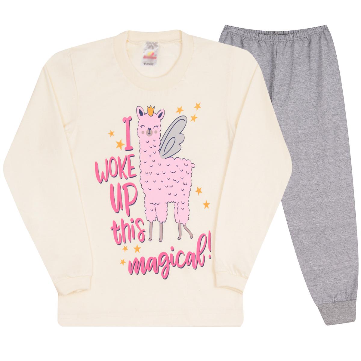 Pijama Infantil Menina Estampado Manga Longa Calça Inverno