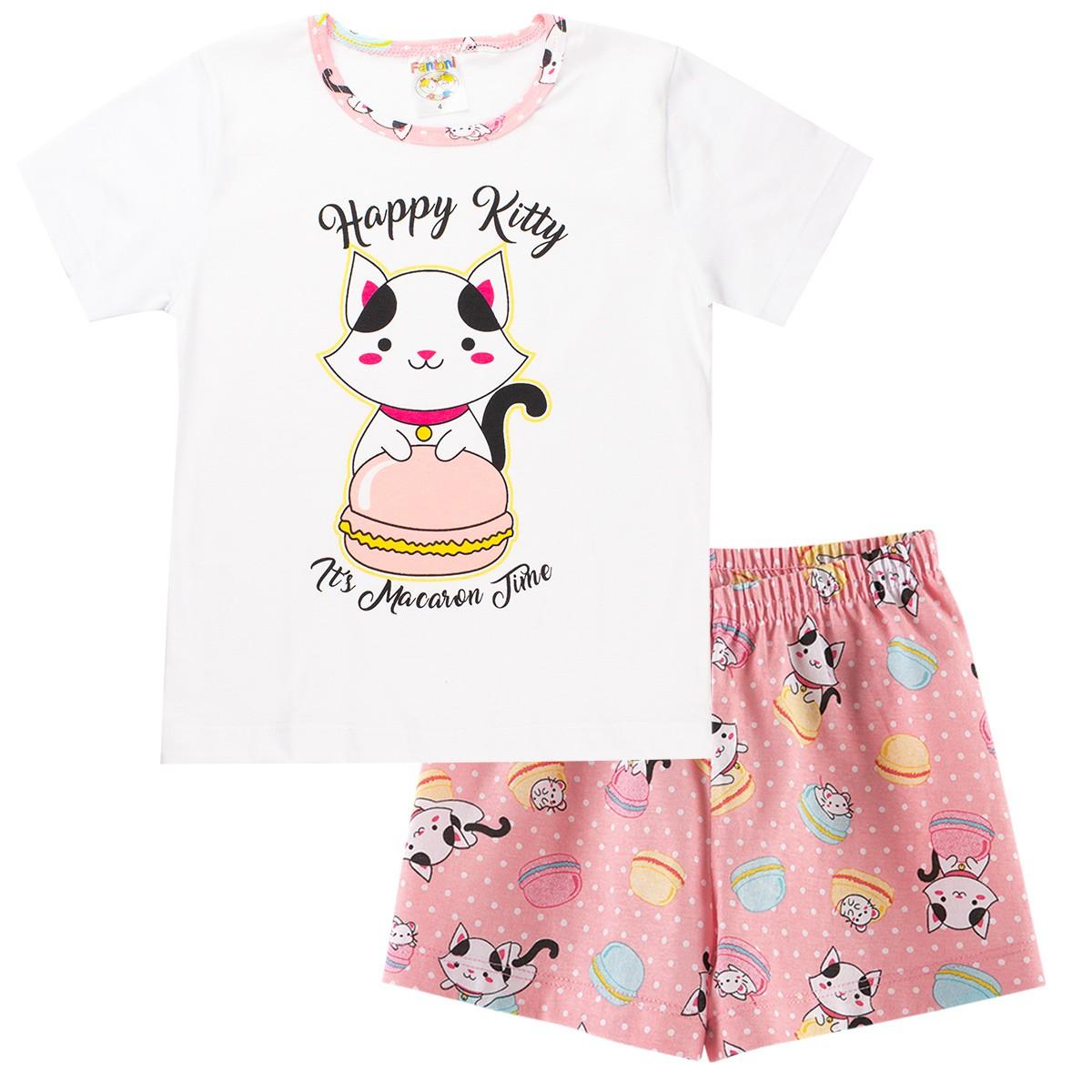 Pijama Infantil Menina Gatinha Brilha No Escuro Conjunto