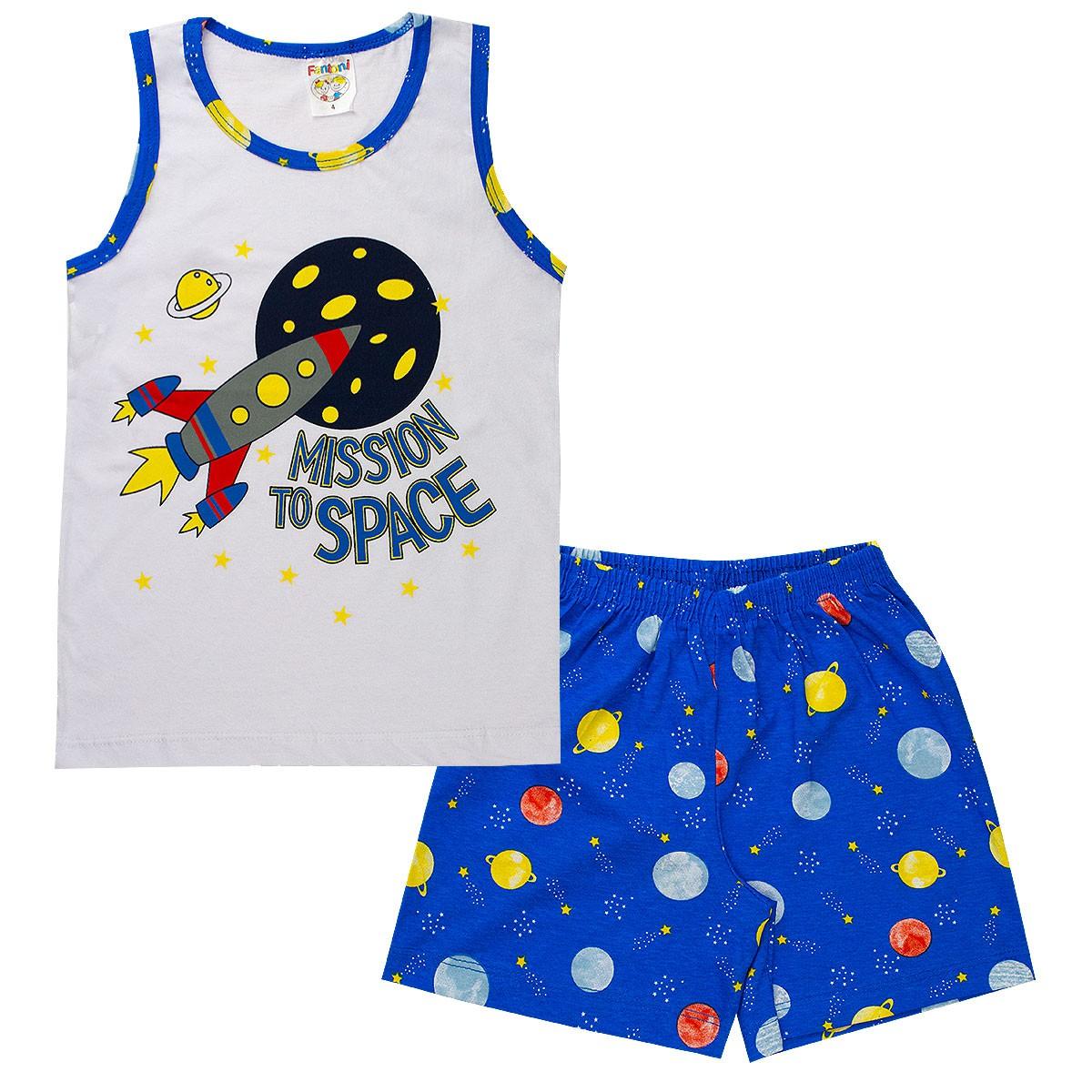 Pijama Infantil Menino Brilha No Escuro Regata Branco