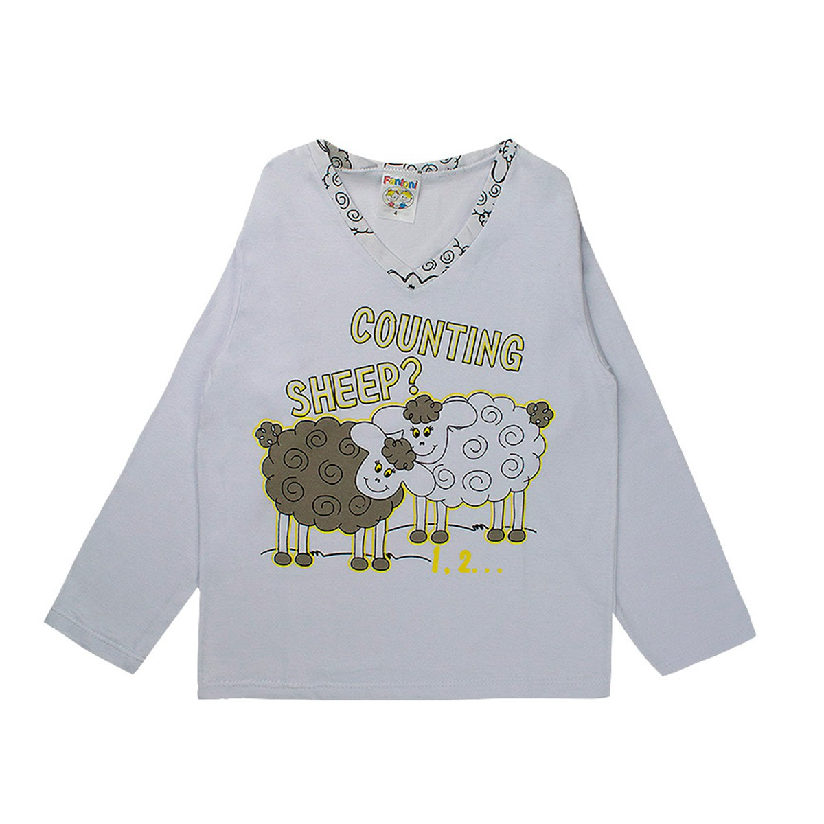 Pijama Infantil Unissex Estampado Decote V Branco Fantoni