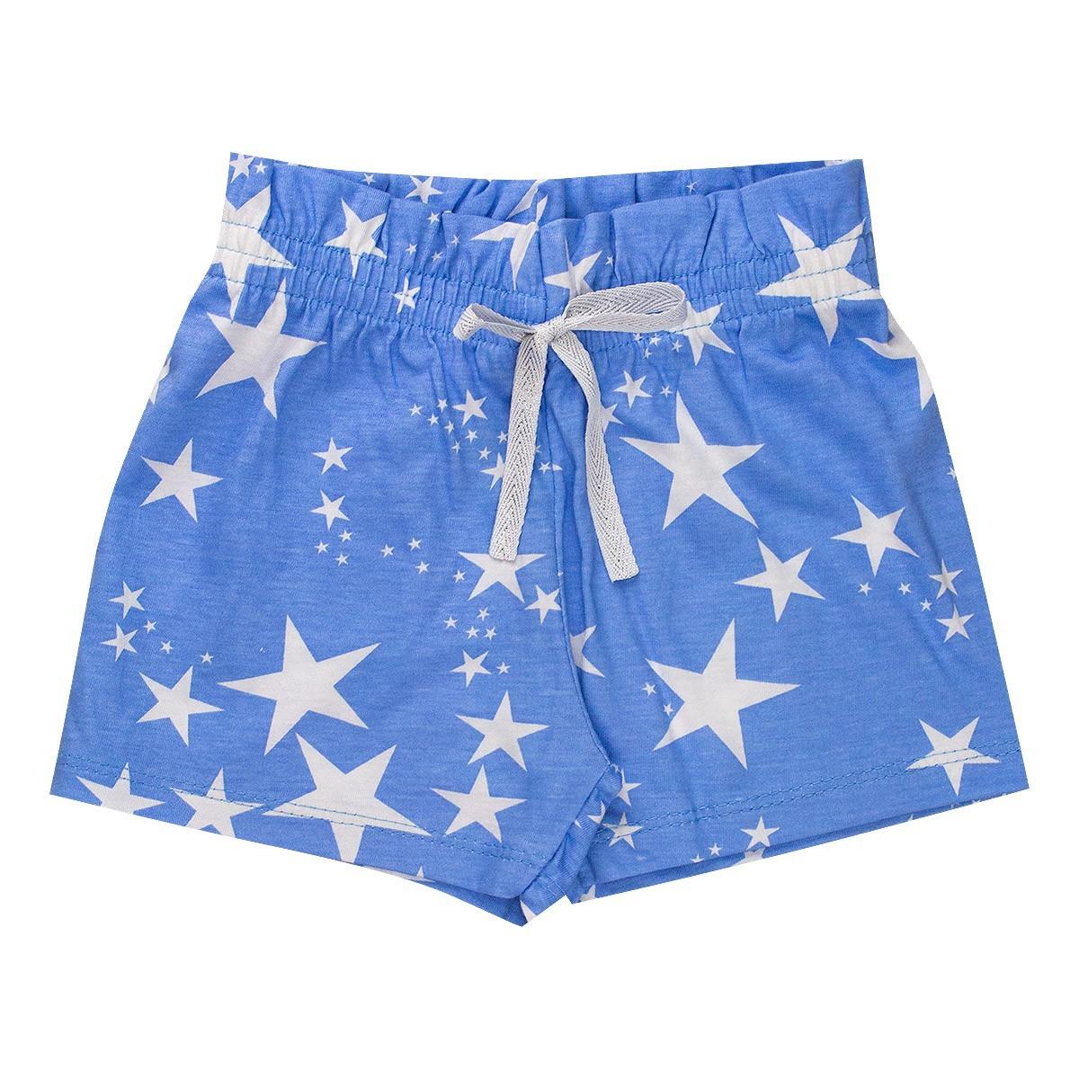 Shorts Fru - Fru Estampado Infantil Menina Azul - Fantoni