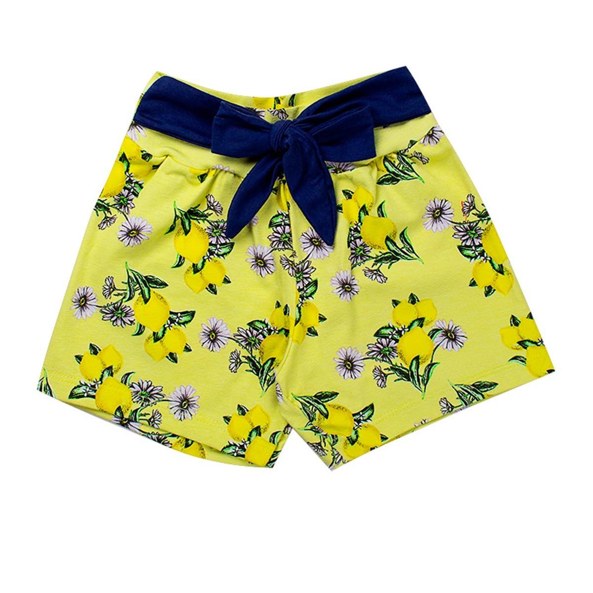 Shorts Infantil Menina Cotton Com Lacinho Amarelo Fantoni