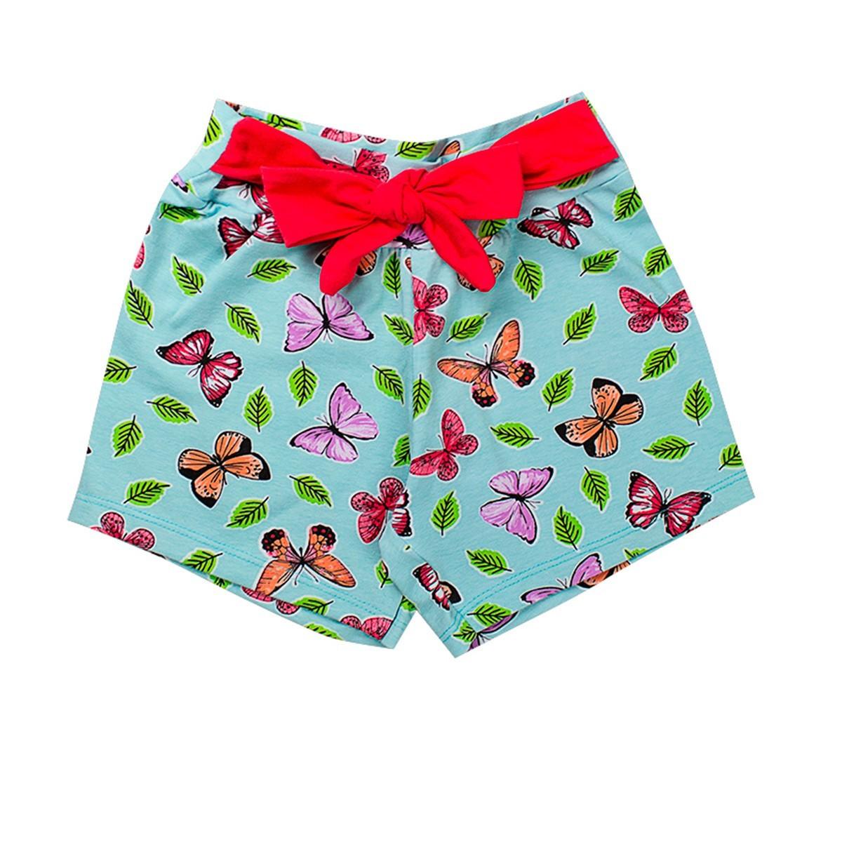 Shorts Infantil Menina Cotton Com Lacinho Azul Fantoni