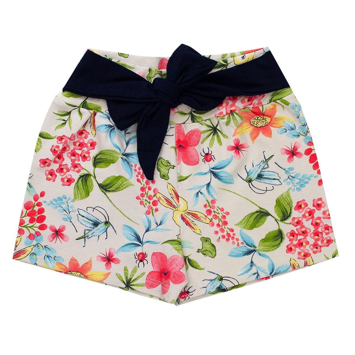 Shorts Infantil Menina Cotton Com Lacinho Pérola  Fantoni