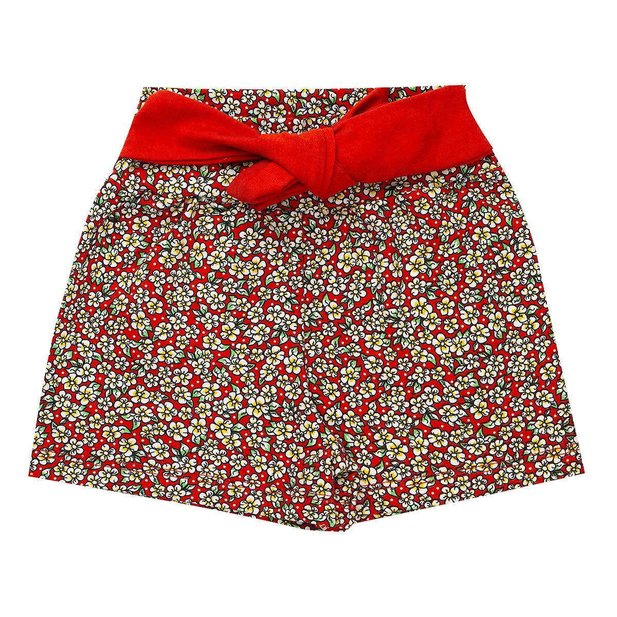 Shorts Infantil Menina Cotton Com Lacinho Vermelho Fantoni