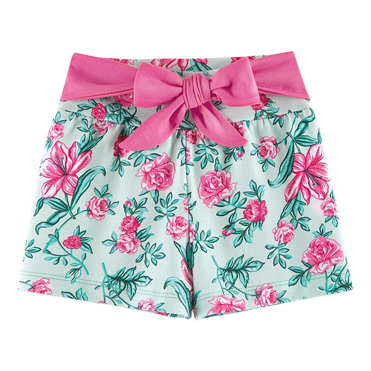 Shorts Infantil Menina Cotton Com Lacinho Verde Fantoni