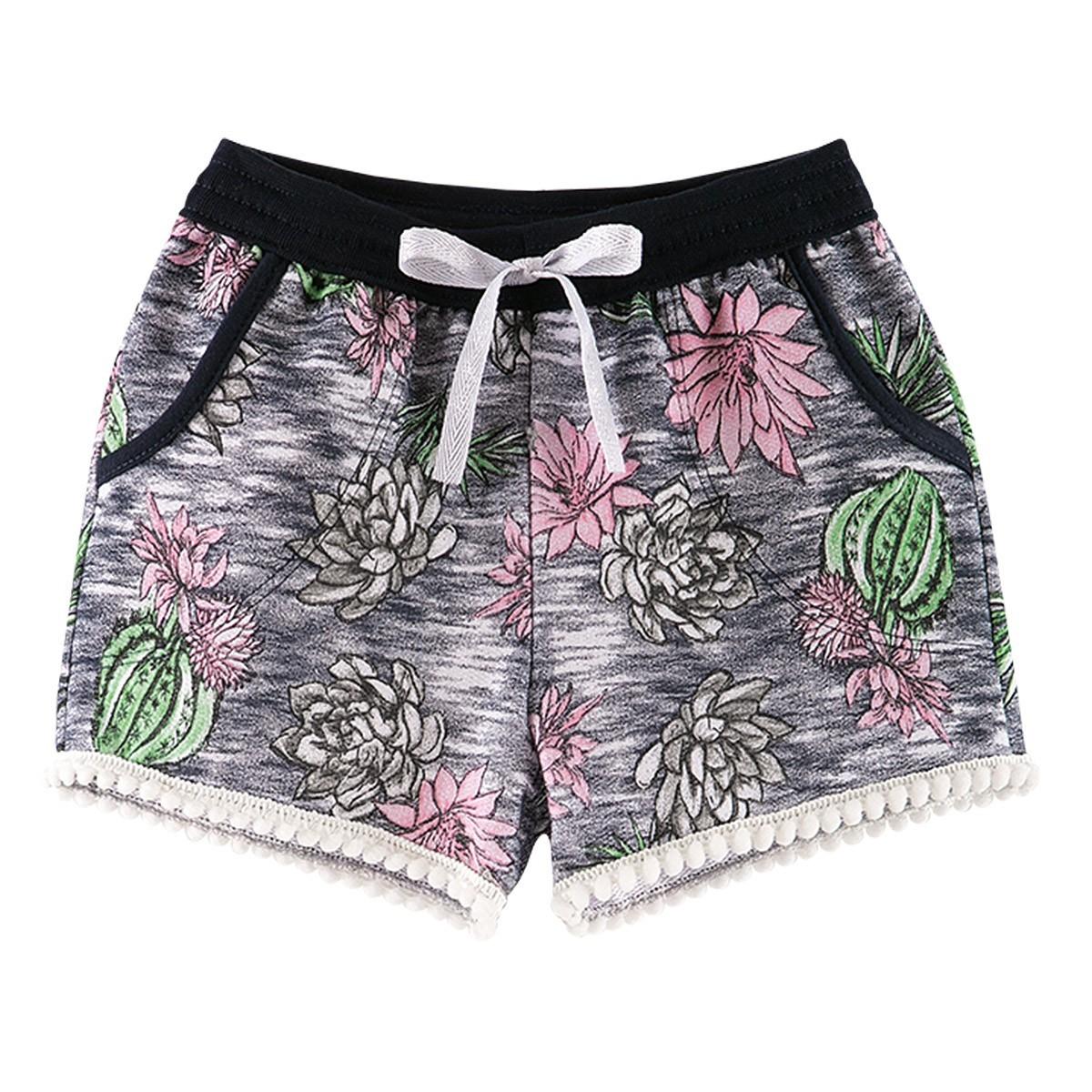 Shorts Infantil Menina Estampada Floral Marinho - Fantoni