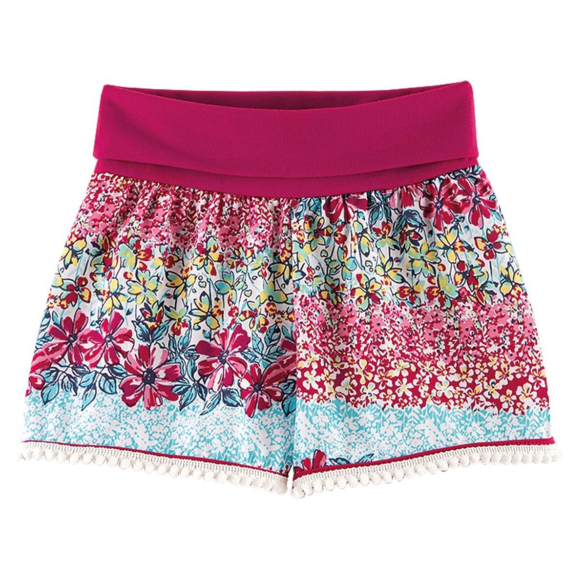 Shorts Infantil Menina Estampada Floral Pink - Fantoni