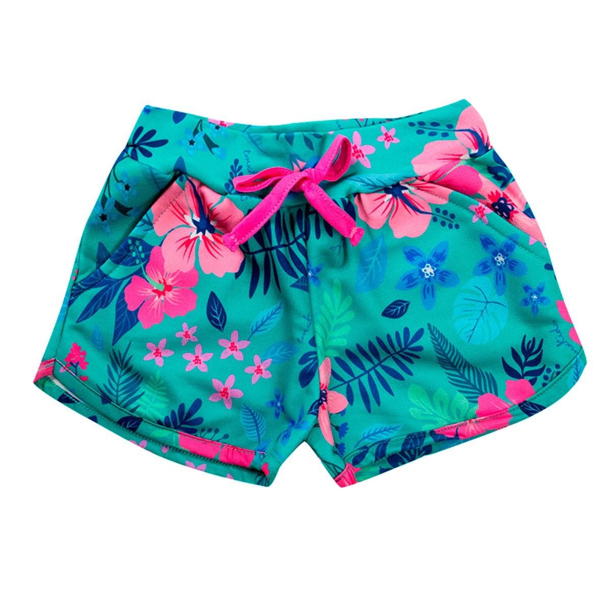 Shorts Infantil Menina Estampado Floral Verde - TMX