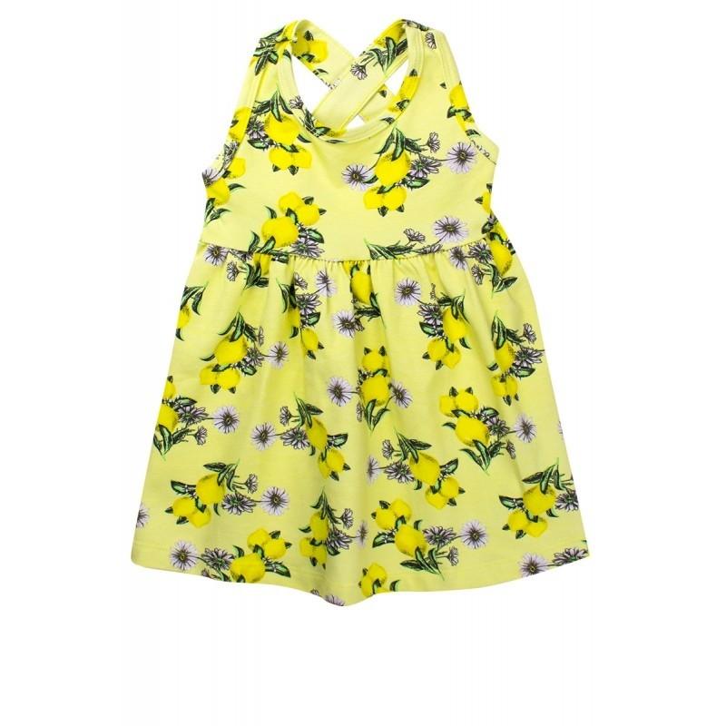 Vestido Infantil Menina Estampado Rodado C/ Laço Amarelo