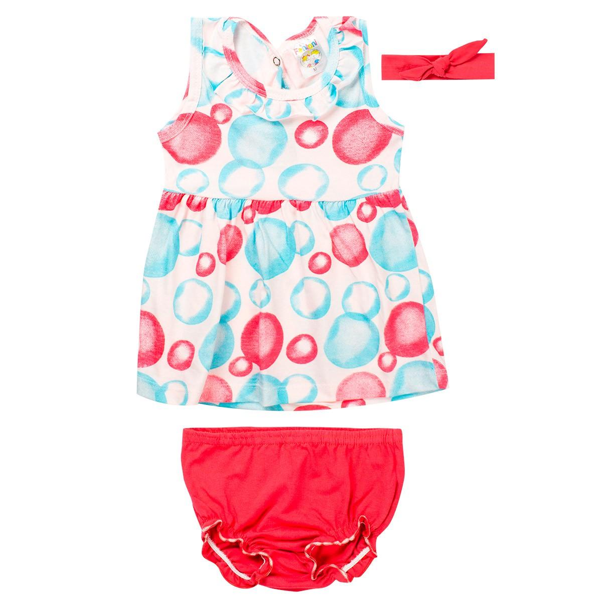 Vestido Infantil Com Calcinha Bebê Salmão - Fantoni