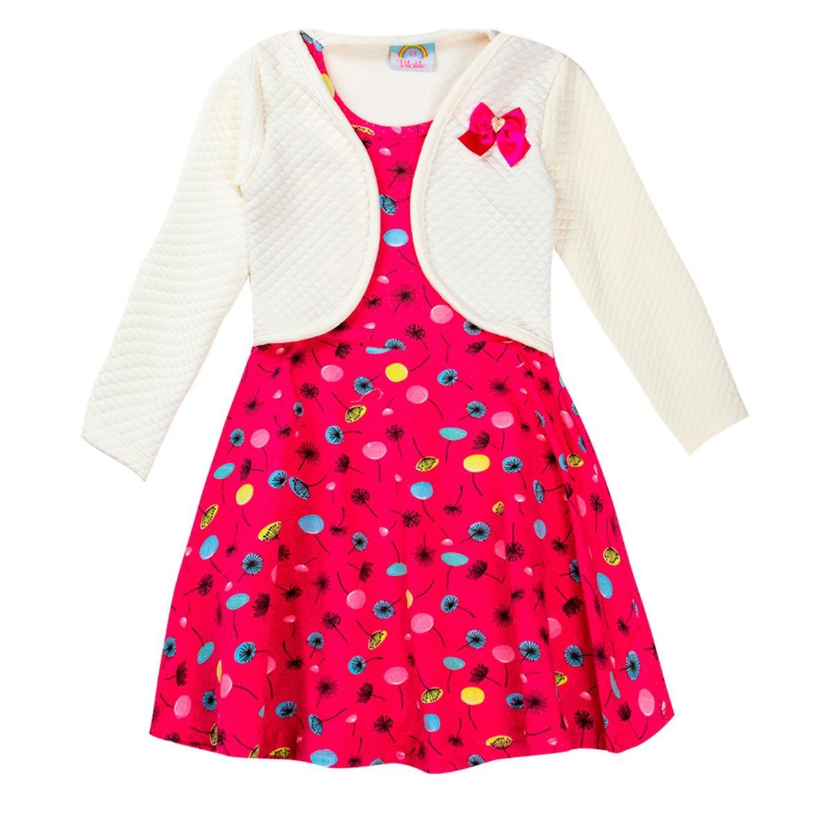 Vestido Infantil Com Bolero Estampado Pink - Vitalite