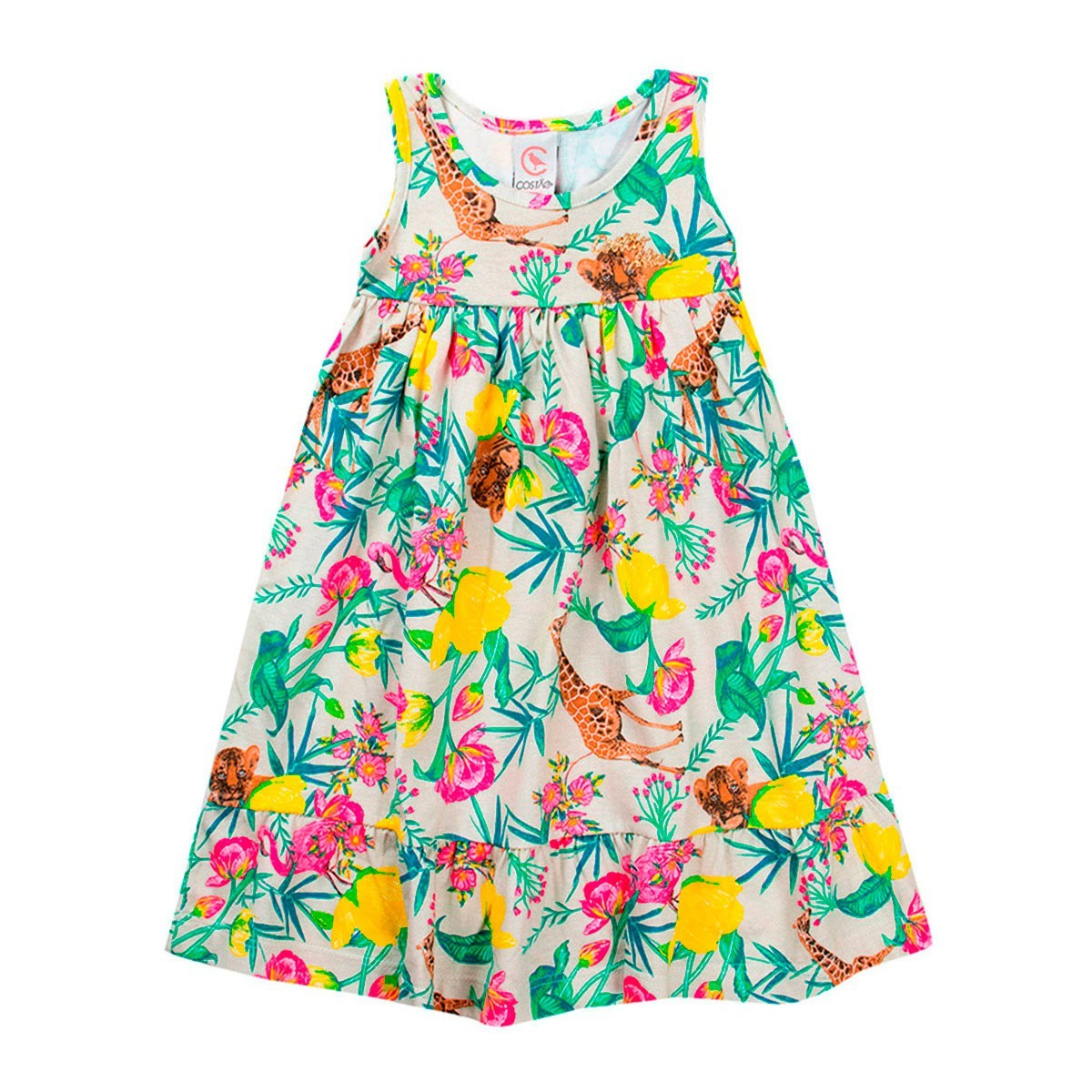 Vestido Infantil Feminino Bichos Rosa Bege - Costão Mini