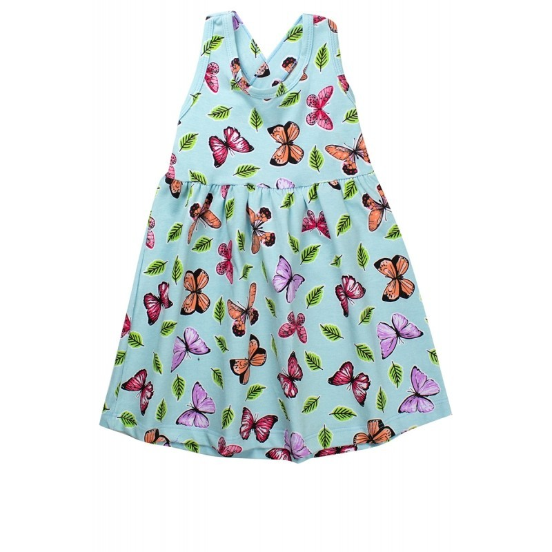 Vestido Infantil Menina Estampado Rodado C/ Laço Azul