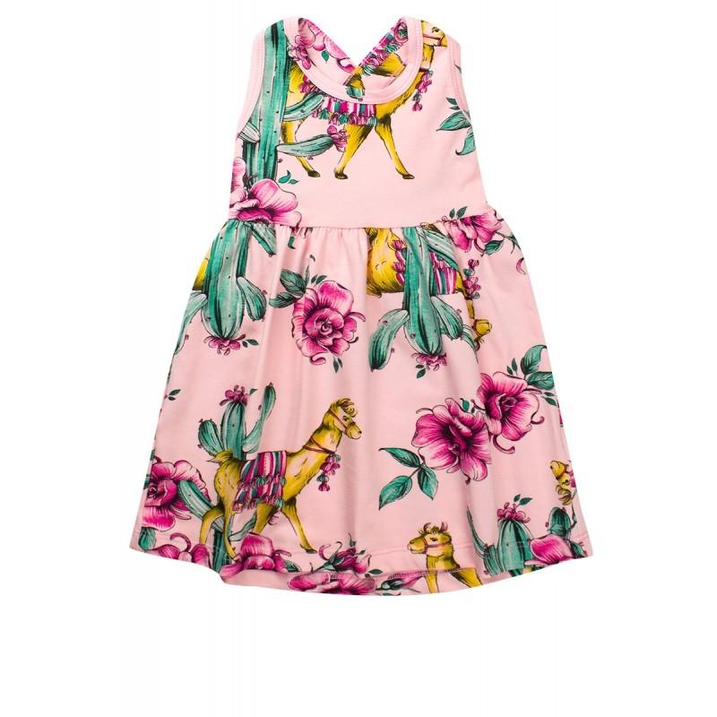 Vestido Infantil Menina Estampado Rodado C/ Laço Rosa