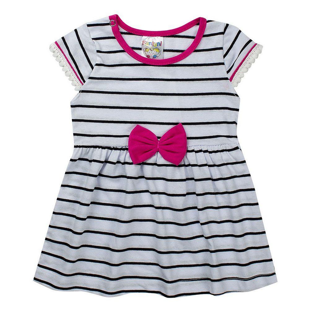 Vestido Listrado Infantil Bebê Detalhe Pink - Fantoni